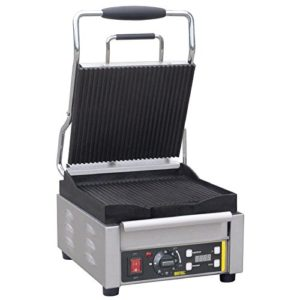 Buffalo Single Contact Grill Ribbed Plates Electric Paninis Cafes BBQ