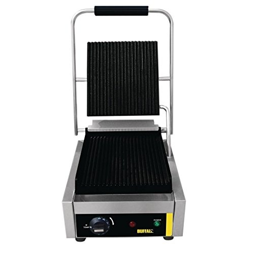 Buffalo Bistro Single Contact Grill 205X300X390mm Stainless Steel Iron Barbecue