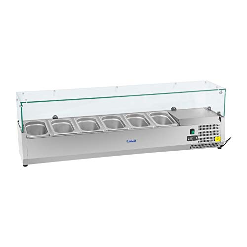Royal Catering Countertop Fridge Display Case RCKV-140/33-O (180 W, Capacity 40 L, 0-10 °C, Glass cover, 140,5 x 33,5 x 46 cm, Suitable for six GN 1/4 containers, Stainless Steel)